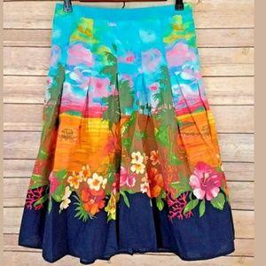 Zara Hawaiian Skirt Tiki Full Circle Island Theme